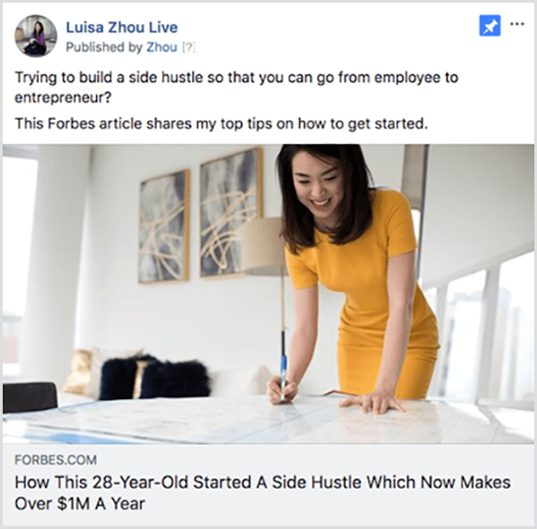 Andrew Hubbard runs ads that showcase the webinar host in online articles and podcasts to build their authority before the audience watches the webinar. In this example, Luisa Zhou Live runs an ad profiling Zhou in Forbes. The article presents her tips on becoming an entrepreneur.