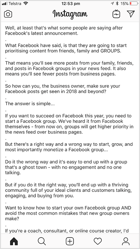 Andrew Hubbard uses periods to add whitespace between paragraphs of text on Instagram.