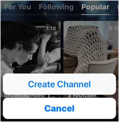 Select Create Channel in IGTV app.