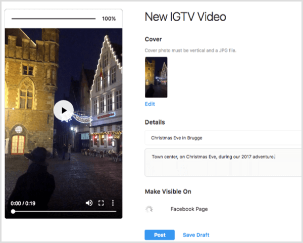 Add a title and desktop for an IGTV video uploaded on desktop.