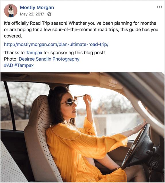 voorbeeld van een blogpostlink van een influencer die op Facebook wordt gedeeld