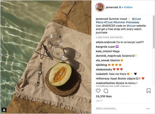 Voorbeeld van een Instagram-influencer-marketingcampagne met een unieke aanbiedingscode
