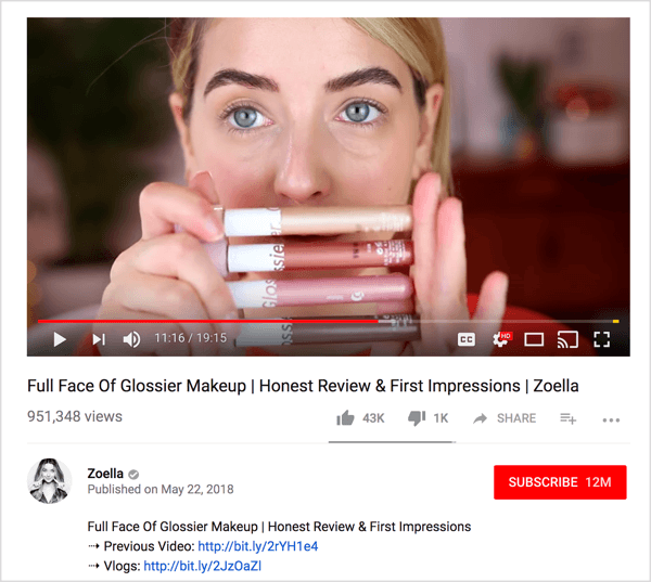 Glossier partnered with YouTube influencer Zoella to review their products.