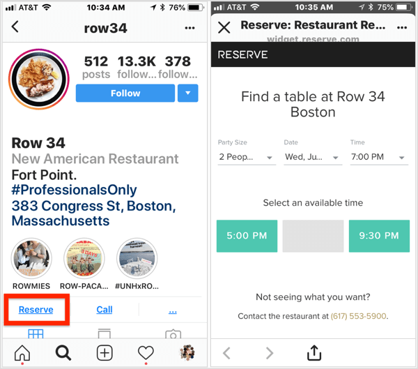 Click the Reserve action button on this restaurant's Instagram business profile to make a reservation.