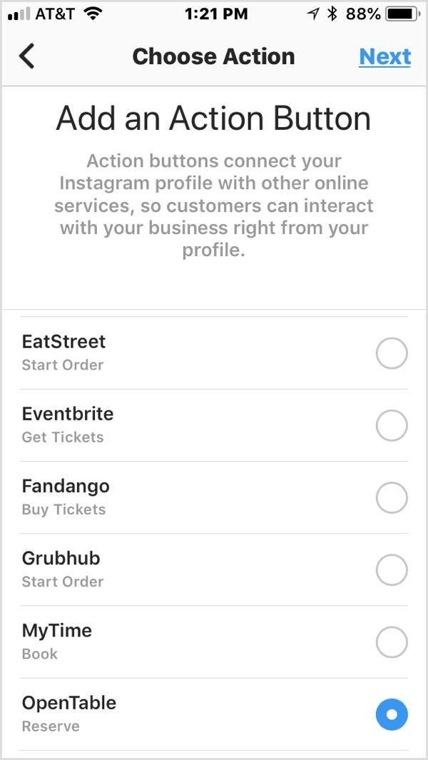 Kies een actieknop om deze toe te voegen aan je Instagram-bedrijfsprofiel.