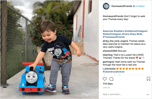 Thomas & Friends shares photos submitted by parents of children using the brand's merchandise.