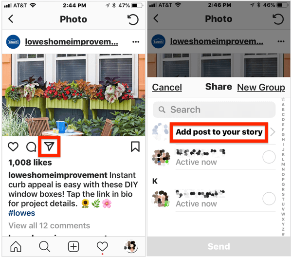 To add a public post to your Instagram story, open the post, tap the airplane icon below the image, and then select Add Post to Your Story from the pop-up menu.