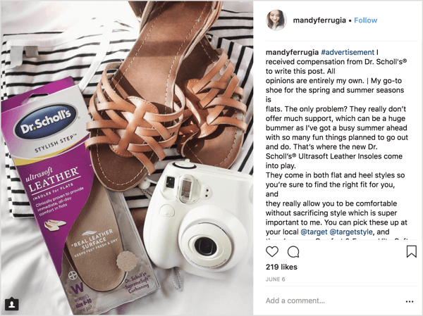 Mandy Ferrugia, a beauty and lifestyle Instagram influencer, helped promote Dr. Scholl's insoles for flats in this sponsored post.