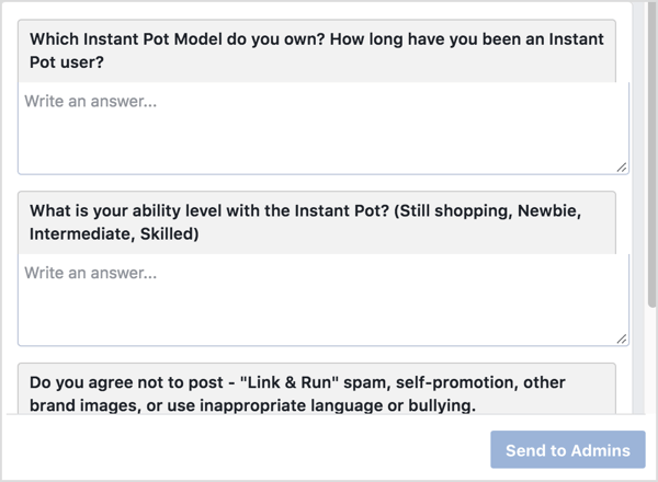 To join the Instant Pot Community group, potential members have to answer a few questions to confirm they're product users.