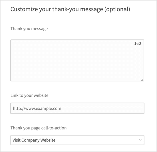 Customize your thank-you message.