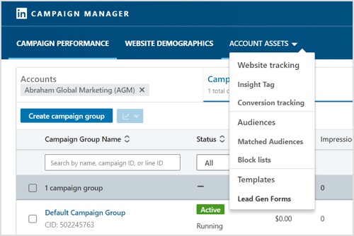 To export your leads as a CSV file, click Account Assets and select Lead Gen Forms.