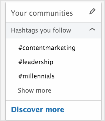 Expand the Hashtags You Follow section.