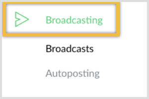 Log into ManyChat and click Broadcasting.