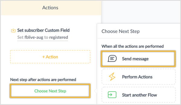 Click Choose Next Step and select Send Message.