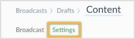 Click Settings at the top of the page.