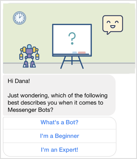 Ask question with Facebook Messenger bot.