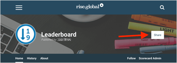 Share your rise.global leaderboard across your social media platforms, especially in your exclusive communities.