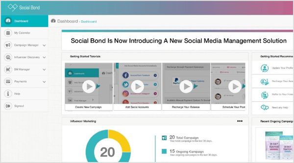 Search for social media influencers with Social Bond and see ratings based on followers, engagement, and influence.