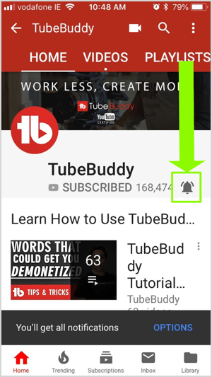 YouTube's notification icon looks like a bell and appears on the far right of a row of icons that include a magnifying glass, a video camera, a grid, and an arrow in a speech bubble. When you subscribe to a channel, the notification icon turns from gray to red and lets you know when the channel posts a new video.