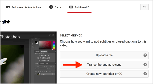 Click Transcribe and Auto-Sync and then paste your transcript into the box.
