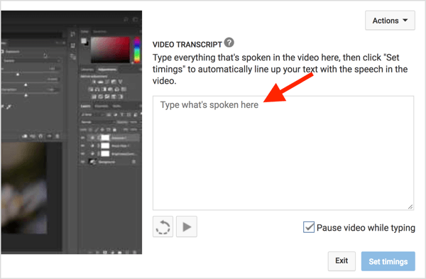 Paste your transcript into the Video Transcript box.