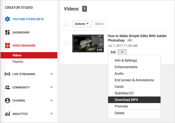 Navigate to your video in Video Manager, click the Edit button next to your YouTube video, and select Download MP4.