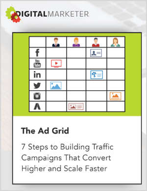 "Ralph Burns says the Tier 11 agency uses the Ad Grid method. The Ad Grid web page from Digital Marketer shows an illustration of the grid with the text ""7 Steps to Building Traffic Campaigns That Convert Higher and Scale Faster."" To the right of the illustration is the heading ""Introducing the Ad Grid"" and the text ""A Strategic 7-Step Process You Can Use To Create Ad Campaigns With True Market-to-Message Match . . . So They Convert Better, Scale Faster, & Produce more Sales."" Below this text are two buttons. One says ""Learn More"" and has a yellow outline. The other button says ADD TO CART - JUST $7 and has a solid yellow background."