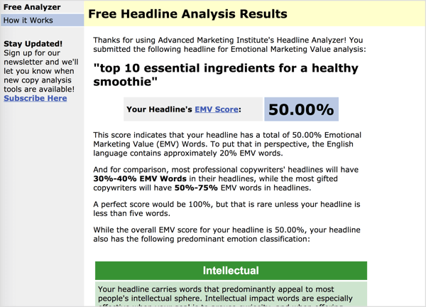 The Headline Analyzer calculates a score based on the emotional marketing value of your words.