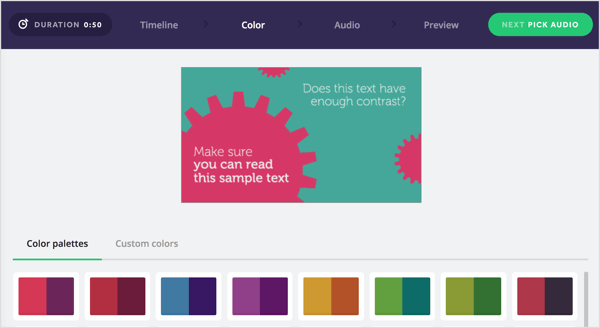 Choose a color palette for your Biteable video or create your own.