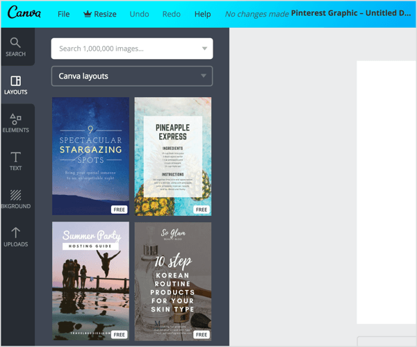Canva offers a variety of Pinterest templates with the correct pin dimensions.