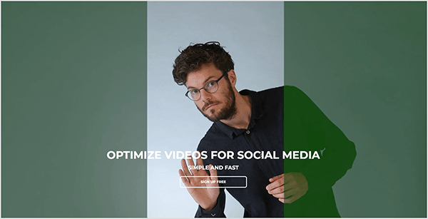 "This is a screenshot of the Crop Video app website. A white man with short dark curly hair, glasses, and a beard leans into a cropping area and waves his hand. He's wearing a black button-down shirt. On either side of the cropping area are wide bars that are vertical, dark green, and transparent. White text appears over the cropping area and vertical bars. It says, ""Optimize Videos For Social Media,"" followed by the line ""Simple and Fast."" Below this text is a button labeled ""Sign Up Free""."