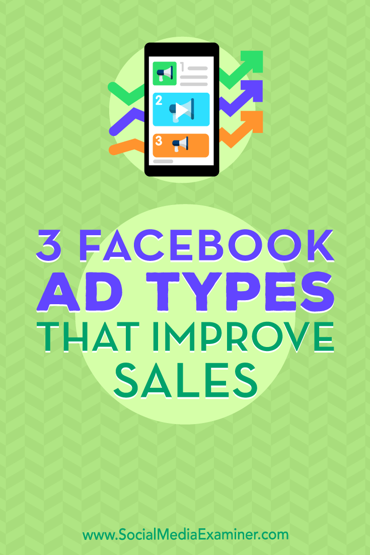 Discover how three Facebook ad types can help you better present your products and drive sales.