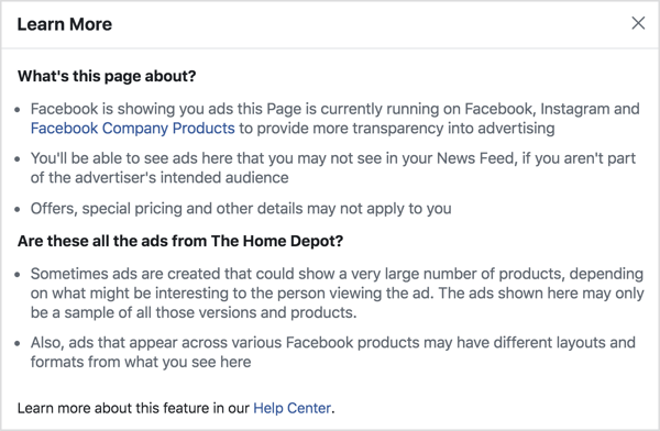 The Facebook ad transparency tools lets any user see all of the ads currently being run by any given page.
