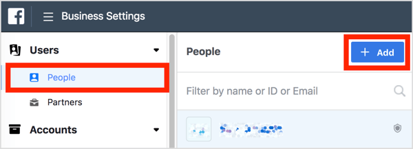 In Business Settings, click People under Users and click the Add button.