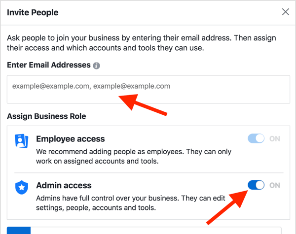 In the Invite People pop-up box, select Admin Access and enter your email address in the text box.