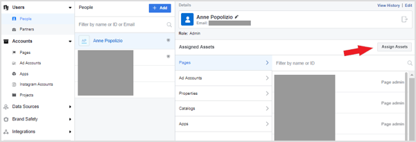 Assign the client's ad account, page, and any other assets to you.