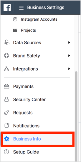 Open Business Settings and select Business Info to find your business ID.