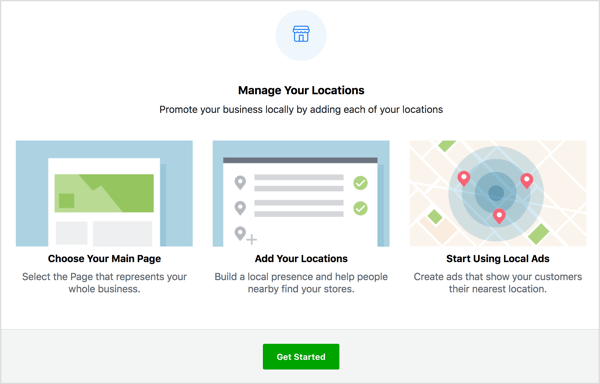 Click Get Started on the Manage Your Locations page.