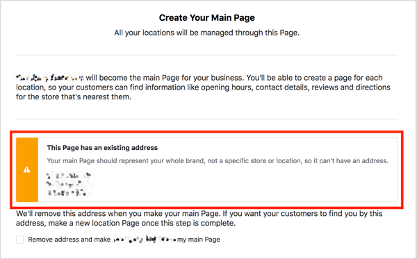 If your main Facebook page has an address, you see a warning message if you try to add locations.