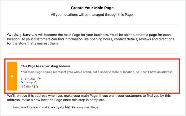 Als uw belangrijkste Facebook-pagina een adres heeft, ziet u een waarschuwingsbericht als u locaties probeert toe te voegen.