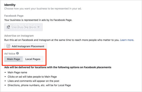 Choose whether the ad voice comes from your main page or location page.