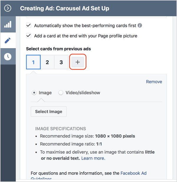 Click the + icon to add a card to your Facebook carousel ad.
