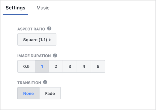 Choose the aspect ratio, set your slide duration, and choose a transition effect for your Facebook slideshow ad.