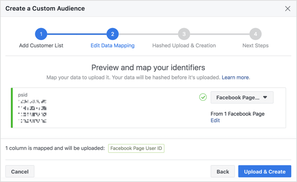When you import your Messenger bot subscriber list to create a custom audience, Facebook maps their Facebook user ID number, which is tied to their profile.
