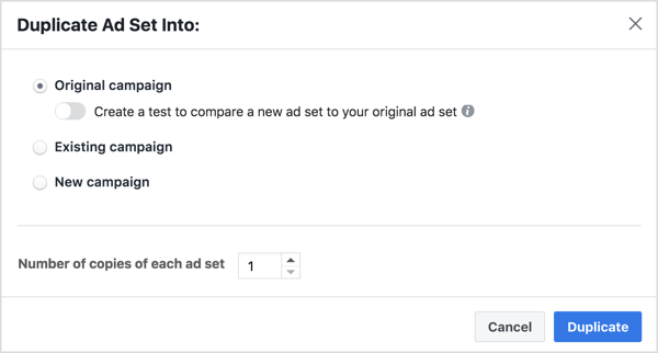 Duplicate the ad set into the original ad campaign and create a duplicate for each ad.