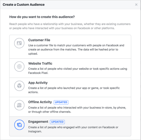 When you reach the How Do You Want to Create This Audience screen, select Engagement.