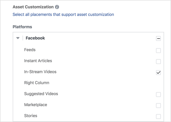 f you want to show your video ads only on Facebook, select In-Stream Videos under Facebook.