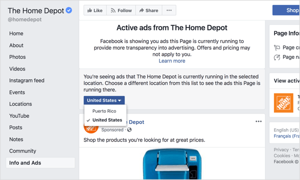 Select a region from the drop-down menu to see all of the ads that Facebook page is currently running, either globally or in a specific country.