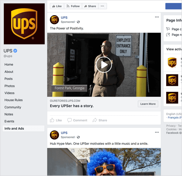 If you look at the Facebook ads from UPS, it's clear they're using storytelling and emotional appeal to build brand awareness.