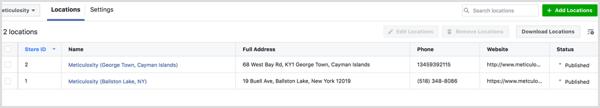 Op het tabblad Locaties van uw dashboard Bedrijfslocaties kunt u al uw locatiepagina's bekijken.